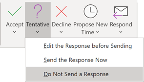 Do not Send a Response in Outlook 365