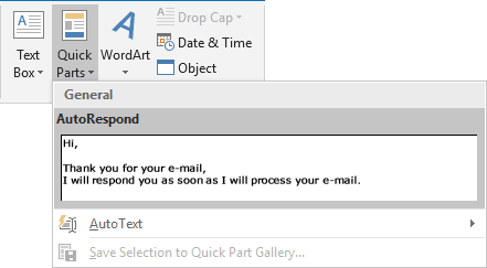 AutoText in the Gallery Outlook 2016