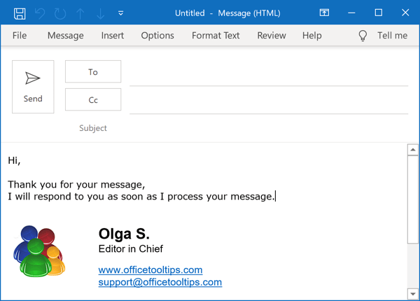 Respond with fixed text in Outlook 365