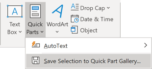 Save Selection to Quick Part Gallery in Outlook 365