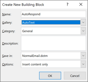 Create New Building Block in Outlook 365