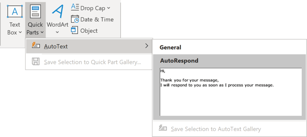 AutoText in the Gallery Outlook 365