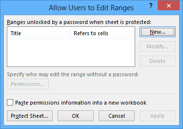 Allow Users to Edit Ranges in Excel 2013