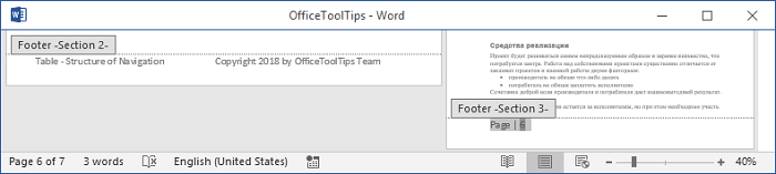 Footers for different sections 2 in Word 2016
