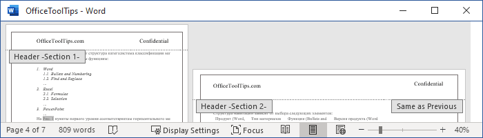 How to create different headers and footers for pages with portrait and landscape orientation in Word