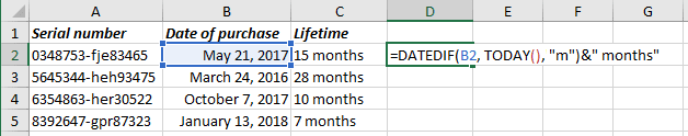 Number of complete months in the period in Excel 365