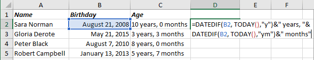 Number of complete years and months in the period in Excel 365