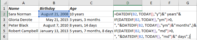 Number of complete years, months and days in the period in Excel 365