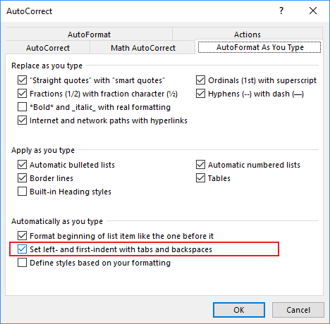 AutoFormat As You Type in Word Options 2016