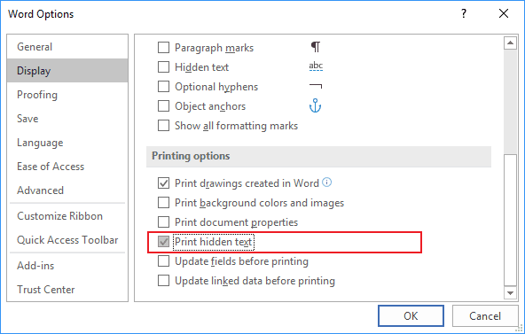 Display tab in Word Options 2016