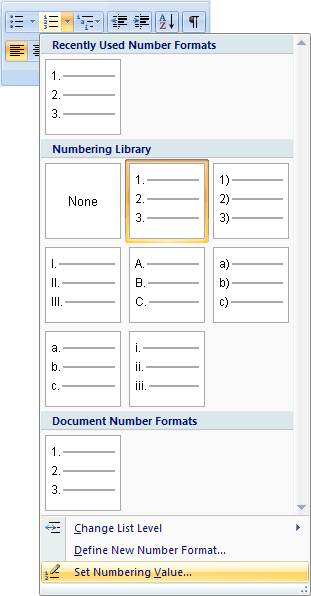 Set Numbering Value in Word 2007