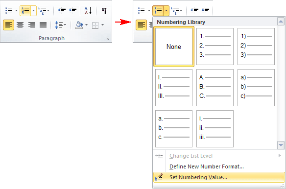 Paragraph in Word 2010