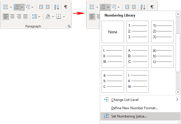 Set Numbering Value in Word 365