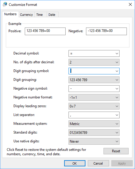 Example of the Customize Format Windows 10