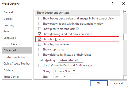 Advanced tab in Word Options 2016