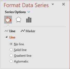 No line in the Format Data Series pane PowerPoint 365
