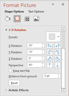 Rotation fields in Format Picture pane PowerPoint 365