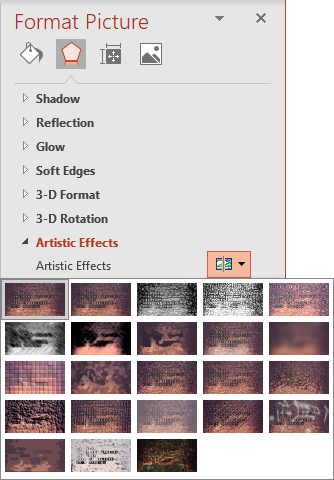Artistic Effects on the Format Picture pane PowerPoint 365