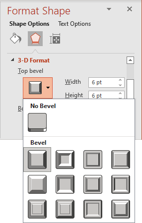 Top bevel in Format Shape pane PowerPoint 365
