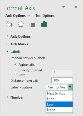 Format Labels in Excel 2016