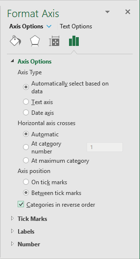 Format Axis Options in Excel 2016
