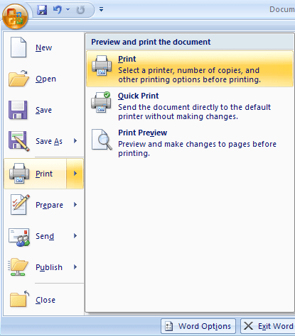 Print menu in Word 2007