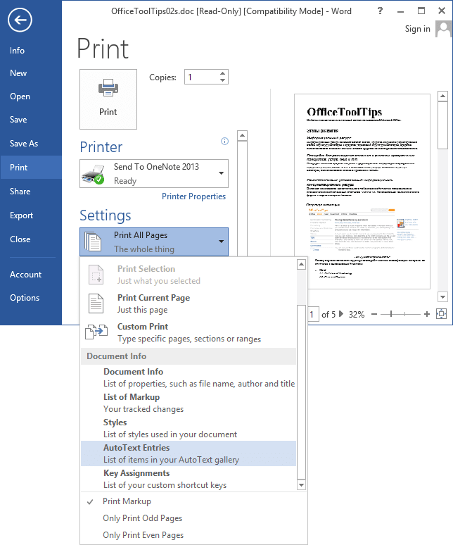 Print AutoText entries in Word 2013