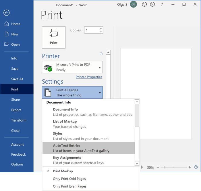 Print AutoText entries in Word 365