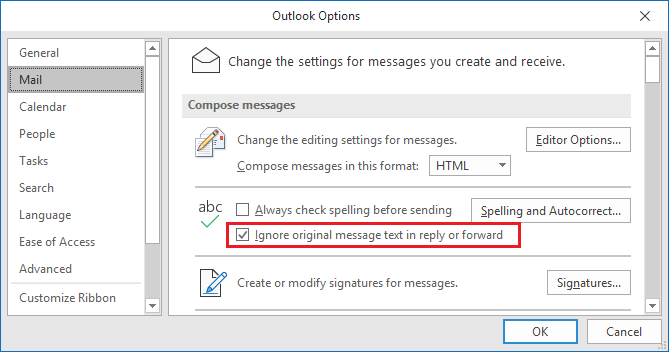 Outlook Options in Outlook 365