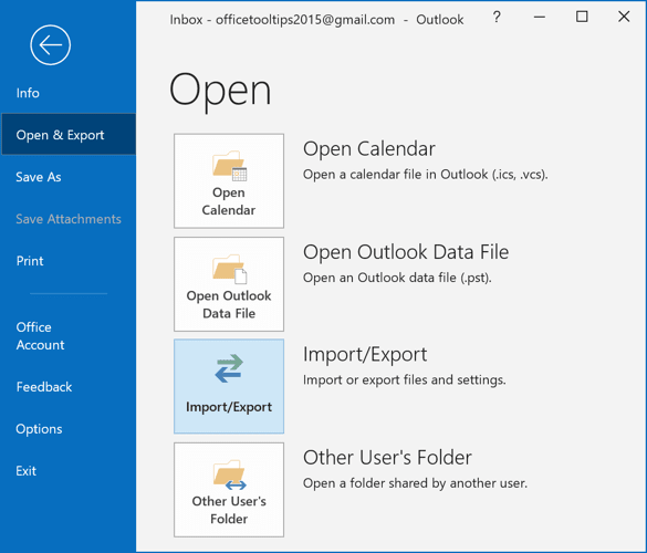 Import/Export in Outlook 2016