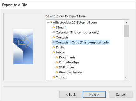 Select folder to export from in Outlook 2016