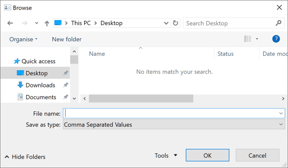 Browse dialog box in Outlook 2016