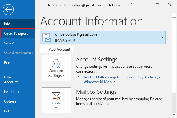 Open and Export in Outlook 365