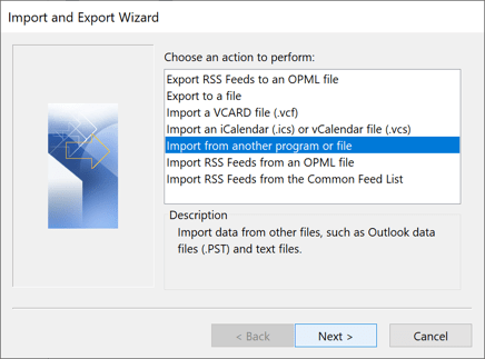 Import and Export Wizard in Outlook 2016