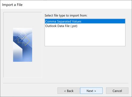Select file type to import from in Outlook 2016