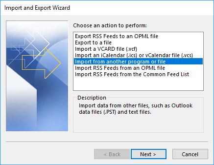 Import and Export Wizard in Outlook 365