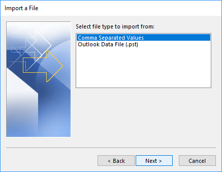 Select file type to import from in Outlook 365