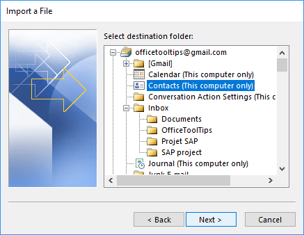 Select destination folder in Outlook 365