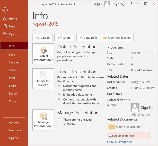 Info in PowerPoint 2016
