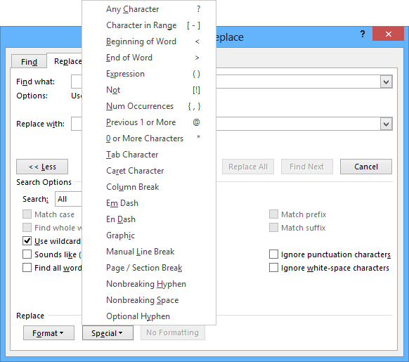 Find and Replace more options in Word 2013