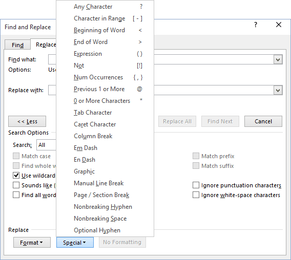Find and Replace more options in Word 2016