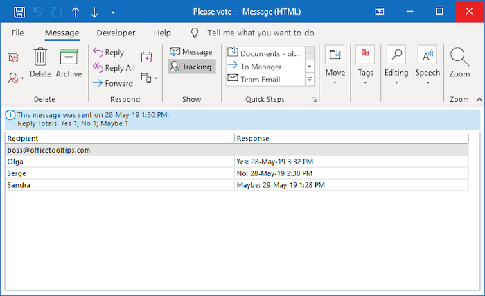 Tracking list in Outlook 365