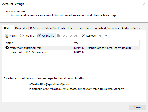 Change Email account in Outlook 365