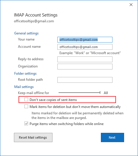 Account settings in Outlook 365