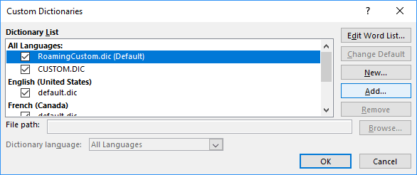 Add in the Custom Dictionaries dialog box Word 2016