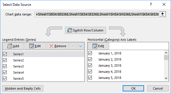 Select Data Source dialog box in Excel 2016