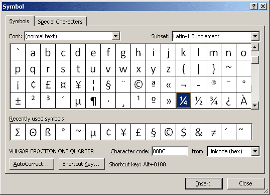 Select symbol in Word 2007