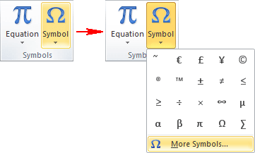 Insert Symbols in Word 2010
