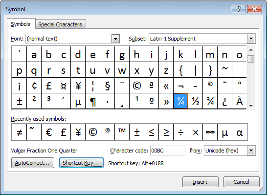 Select symbol in Word 2010