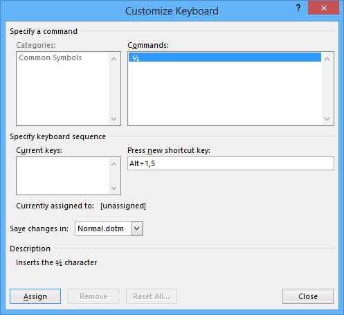Customize Keyboard in Word 2013